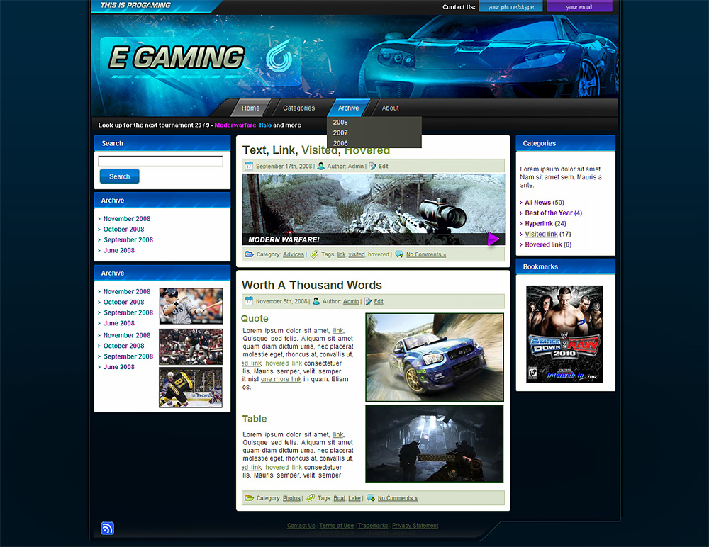 Blue WordPress Themes Egamers Wordpress Theme Blue