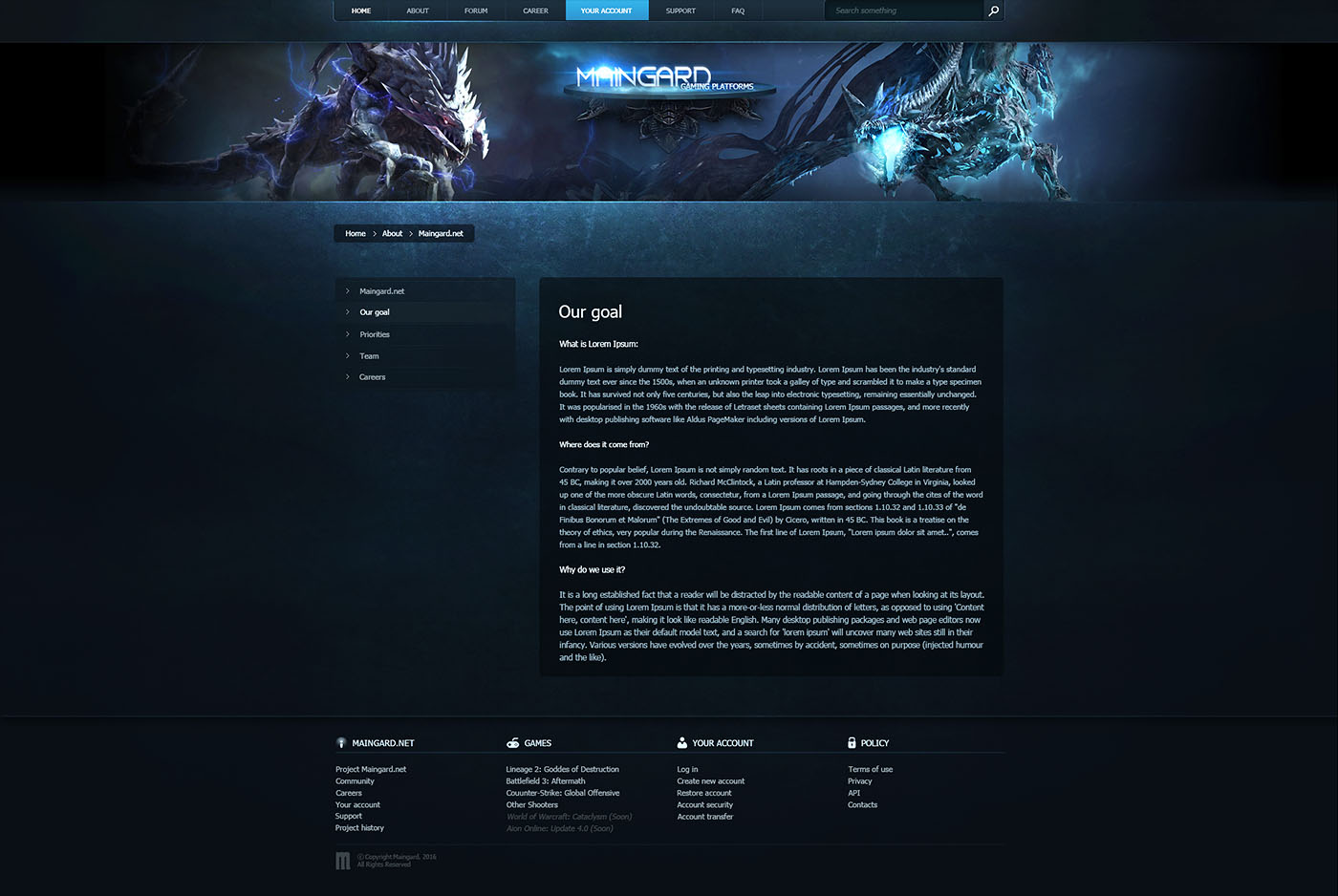 Guard Game Platform Web Template - Gaming website template