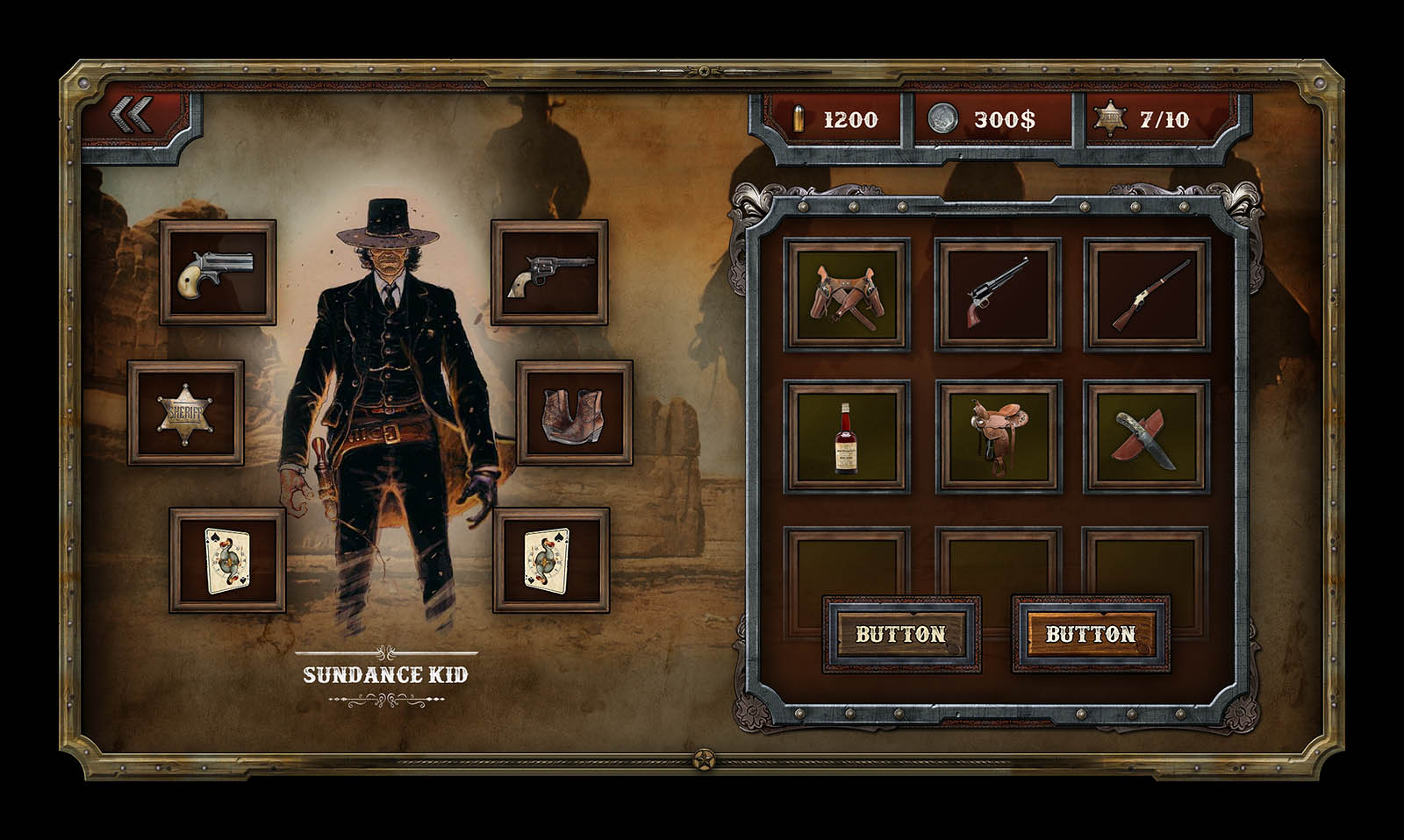 western mobile game ui